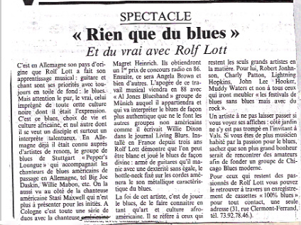 Article de press Rien que du blues