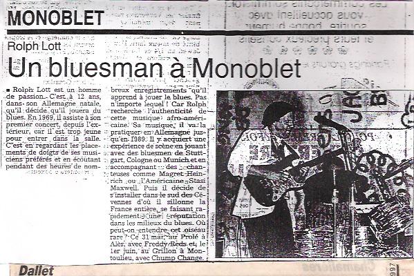 Article de presse Rolf Lott Un bluesman a monoblet